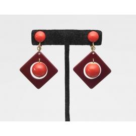 Vintage Burnt Orange and Mahogany Colored Dangle Clip on Earrings Geometric