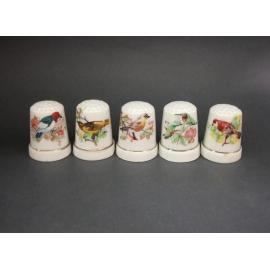 Set of Five 5 Vintage Bone China Bird Thimbles White with Nature Birds Flowers