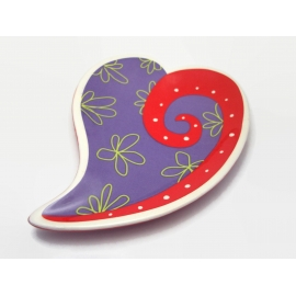 Vintage Purple and Red Heart Shaped Trinket Dish Floral Porcelain Ring Dish