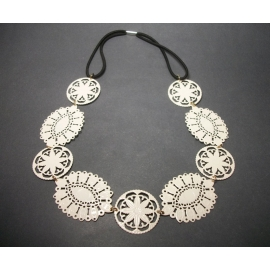 Vintage Winter White Metal Lace Necklace with Stretch Elastic Cord