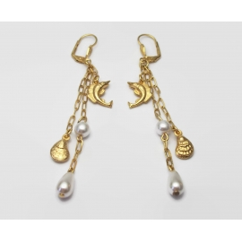 Vintage Sailfish and Oyster Shell Pearl Drop Earrings Long 3 1/2 inch Gold