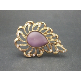 Vintage 1928 Purple Moonglow AB Crystal Openwork Brooch Pin with Cabochon