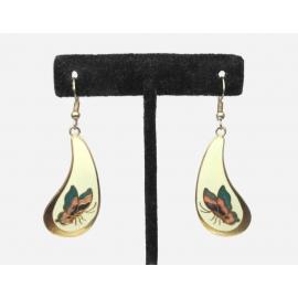 Vintage Cloisonne Enamel Butterfly Drop Earrings Dangle Hook Earring Cream White