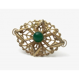 Vintage Sarah Coventry Gold Filigree Brooch Green Stone Cabochon Unisex Pin
