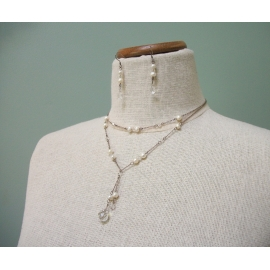 Vintage Clear Crystal and Freshwater Pearl Y Necklace and Dangle Earrings Set