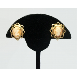 Vintage Genuine Carved Shell Cameo Screw Back Earrings