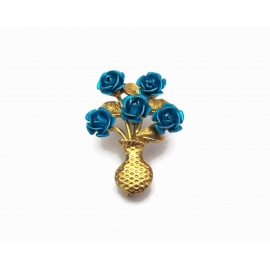 Vintage Teal Rose Bouquet Brooch Gold Tone