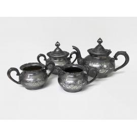 Antique Late 1800s Van Bergh Quadruple Silver Plate Tea Service Set