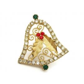 Vintage Rhinestone Gold Filigree Christmas Bell Brooch Elegant Bell Lapel Pin