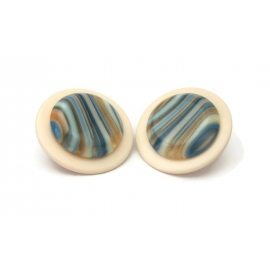 Vintage Huge 1980s Round Cream and Blue Striped Earrings