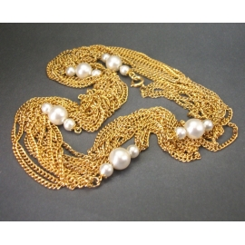 Vintage Super Long Gold Layering Chain Necklace with Faux Pearls Four Strands