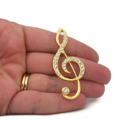 Vintage Treble Clef Brooch Clear Rhinestone and Gold Tone Music Lapel Pin