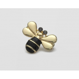 Vintage Gold Tone and Black Enamel Bee Brooch Small Bumblebee Lapel Pin