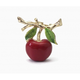 Vintage Gerry's Apple Brooch Enamel and Gold Tone Red Apple Lapel Pin