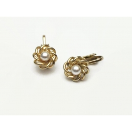 Vintage Dainty Gold Faux Pearl Clip on Earrings Tiny Pearl Minimalist Floral