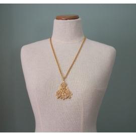 Vintage Medallion Gold Ball Fringe Pendant Necklace Long 25 inch Gold Chain