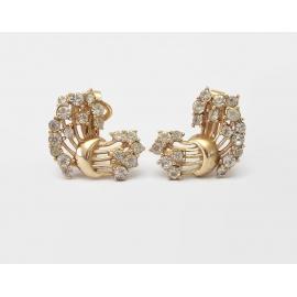 Vintage Crown Trifari Gold Tone Rhinestone Clip on Earrings Clear 1950s 1960s