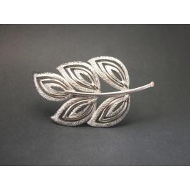 Vintage Signed Kramer Silver Leaf Brooch Lapel Pin