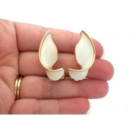 Vintage Kramer White Enamel And Gold Tone Clip On Earrings Designer Jewelry