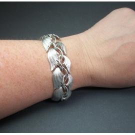 Vintage 1950s Lisner Silver Bracelet Mid Century Designer Jewelry Signed