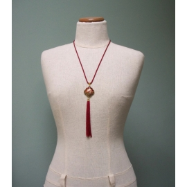 Vintage Deep Red Cloisonne Enamel Tassel Pendant Necklace 24 inch Cord