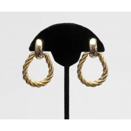 Vintage Gold Hoop Doorknocker Clip on Earrings Rope Twist Hoop Earrings