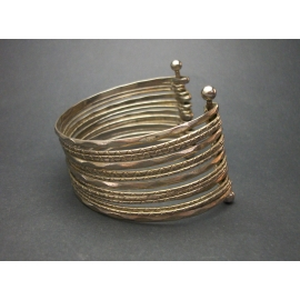 Vintage Multi Bangle Cuff Bracelet Stacked Silver Tone Layers One Size Fits Most