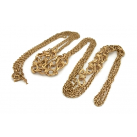 Vintage Crown Trifari long 56 inch gold chain link necklace