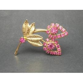 Vintage Pink Rhinestone Flower Brooch Gold Pave Pink Flower Lapel Pin