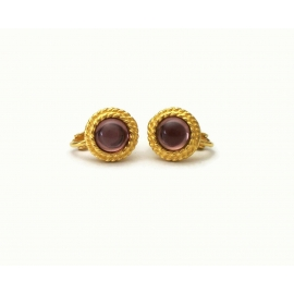 Vintage Napier gold and purple glass small round clip on earrings
