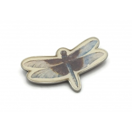 Vintage Dragonfly Brooch Signed Marjolein Bastin Insect Lapel Pin Blue Brown