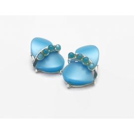 Vintage Aqua Blue Thermoset  and Silver Tone Clip on Earrings Mid Century