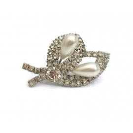 Vintage Rhinestone Calla Lily Brooch Silver Tone Faux Pearl Floral Wedding Pin