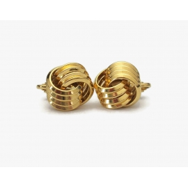 Vintage Gold Tone Knot Clip on Earrings Vintage Jewelry 3D Textured Knot Shaped
