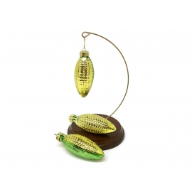 Vintage Set of Three 3 Blown Glass Corn on the Cob Christmas Ornaments