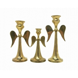 Vintage Tarnished Brass Angel Candlesticks Set of Three Made in India Decor