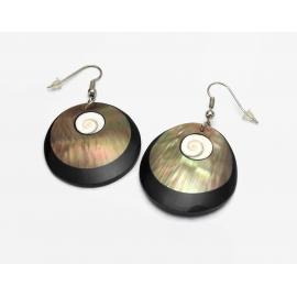 Abalone Seashell and Black Lucite Dangle Earrings Drop Hook Earrings for Pierced