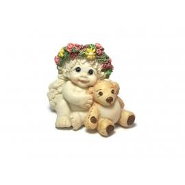 "Vintage 1996 Dreamsicles Figurine Baby Angel Cherub with Teddy Bear ""Playmates"""