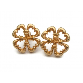 Vintage Sarah Coventry Gold Clip on Earrings Floral Embassy Shamrock 1970s
