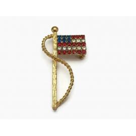 Rhinestone American Flag Brooch Patriotic Lapel Pin
