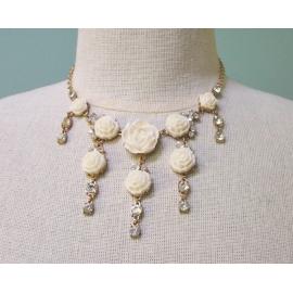 Floral Fringe Bib Necklace Cream White Roses Flowers