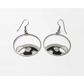 Silver Space Bubbles Dangle Hoop Hook Earrings Planets Geometric Black White
