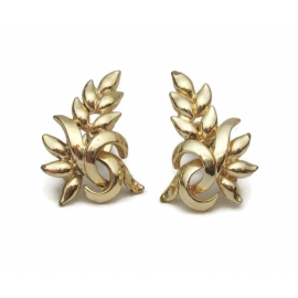 signed Coro gold floral screw back clip earrings