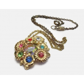 Vintage colorful rhinestone floral pendant necklace