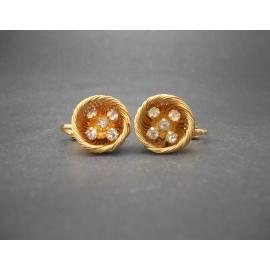 Vintage gold wire bird nest clip on earrings