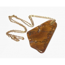 Vintage Stone Slice Pendant Necklace with Decorative Leaf Bail and 24 inch chain
