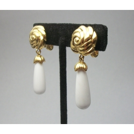 Vintage Monet white and gold floral drop clip on earrings