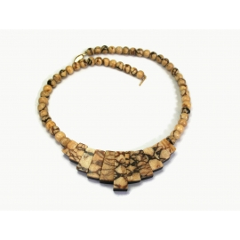 Reversible Beaded Necklace Marbled Brown Black Beads 21 inch Long Bib Necklace