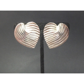 Vintage Big Silver Tone Heart Shaped Clip on Earrings Large Textured Silver Hear
