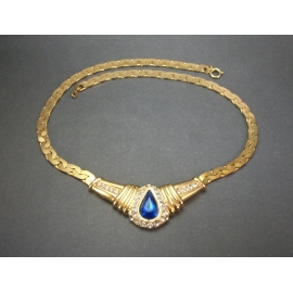 gold necklace with clear and sapphire blue rhinestones